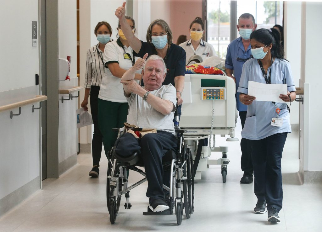 Patients and Staff celebrate moving into the new NRH