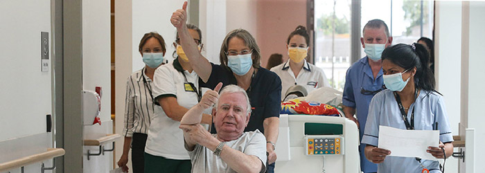 Patients and Staff celebrate moving to the New NRH